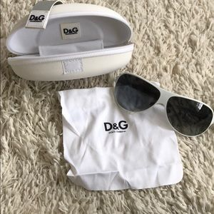 D&G white sunglasses with case and cloth